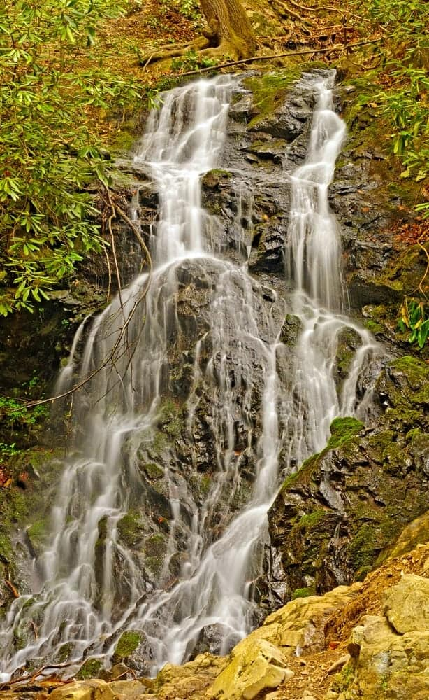 View of Cataract Falls in the Smoky Mountains