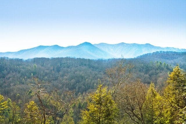 View of the Smokies from Point of View cabin in Gatlinburg