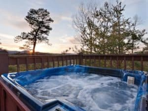 Hot tub with evening sky
