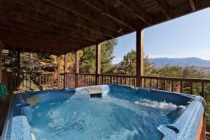 Hot tub overlooking Smoky Mountains