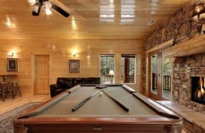 Pool table at Misty Cove, one of our Gatlinburg TN mountain cabins near a golf course.
