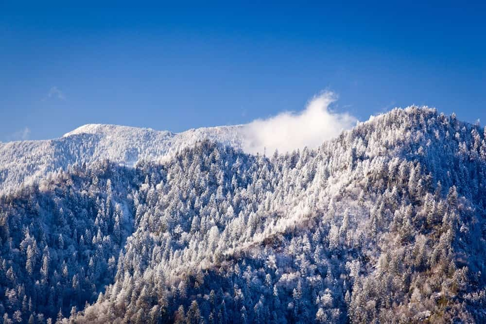 Mount LeConte covered in snow near our Smoky Mountains Tennessee cabins for rent.