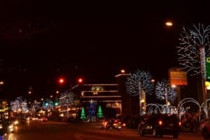 Holiday lights on the Parkway in Gatlinburg.