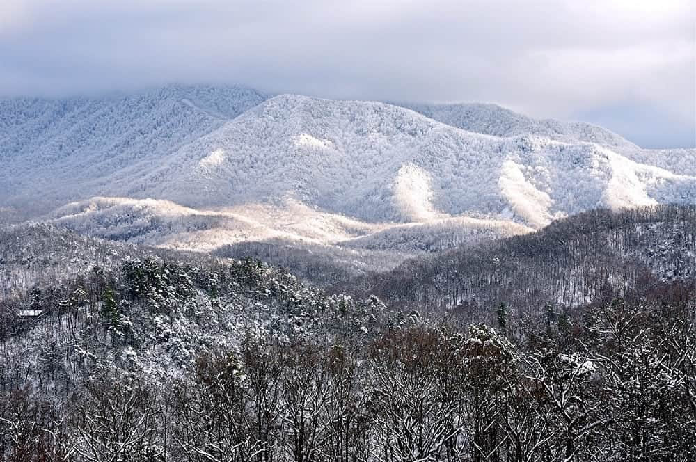 Mountains near Gatlinburg covered in snow.