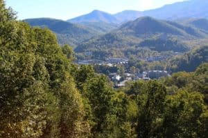 The city of Gatlinburg surrounded by the mountains.