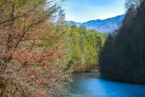 Water view from Serenity Studio, a secluded Gatlinburg cabin with mountain views