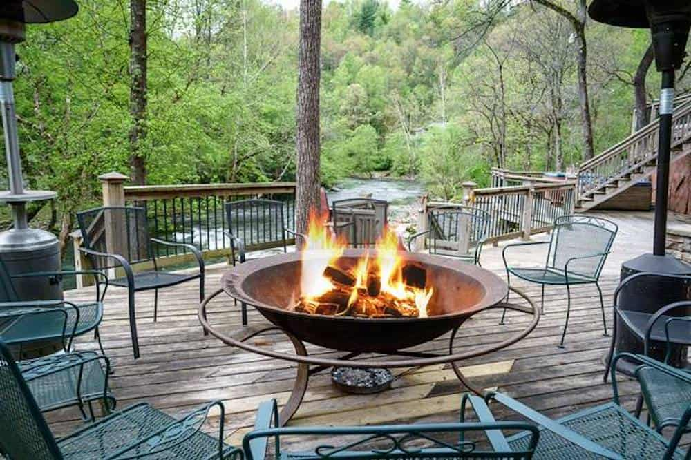 fire pit outside large group cabin