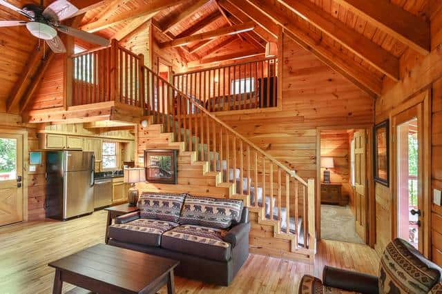 inside of large group cabin in Gatlinburg