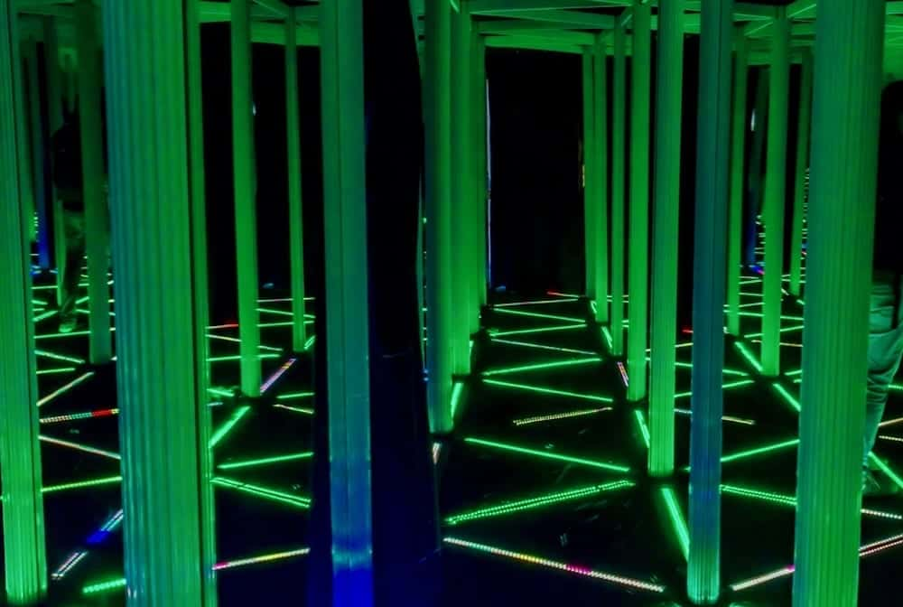 mirror maze with LED lights